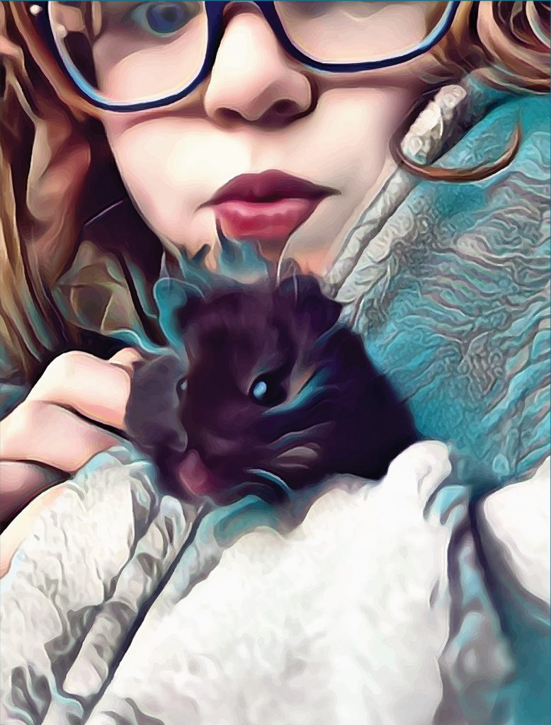 close-up photo of a little girl holding a hampster stylized in turquoise and white.