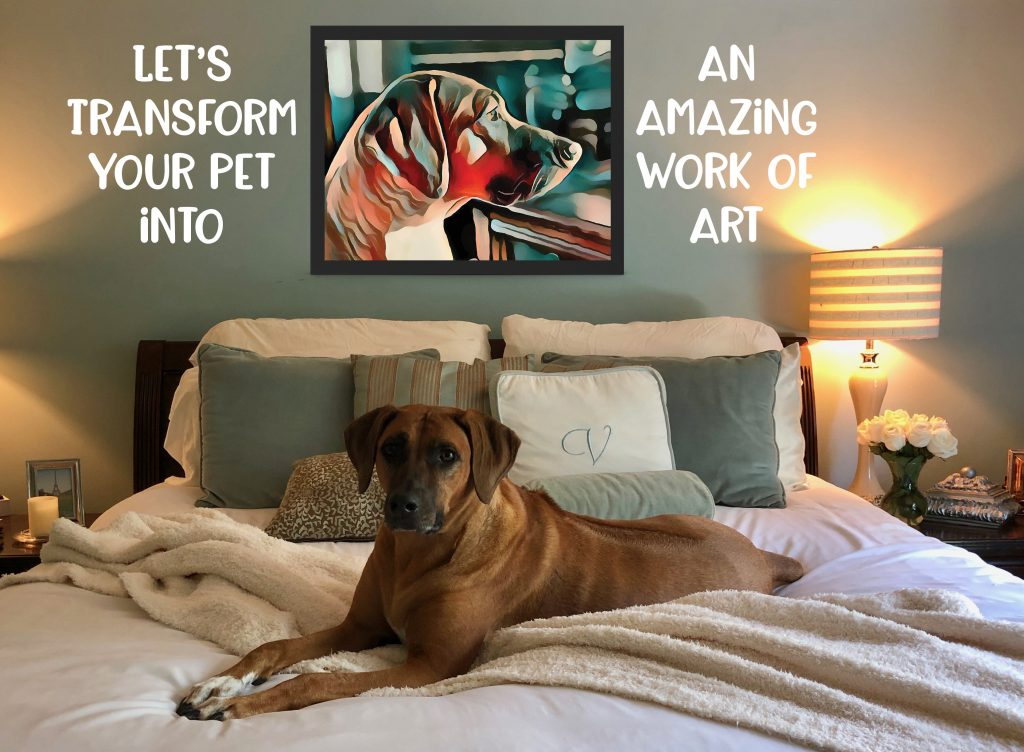 "Image of a brown dog on a bed with a stylized painting of the dog on the wall behind it with a caption that reads, ""Let's transform your pet into an amazing work of art!"""