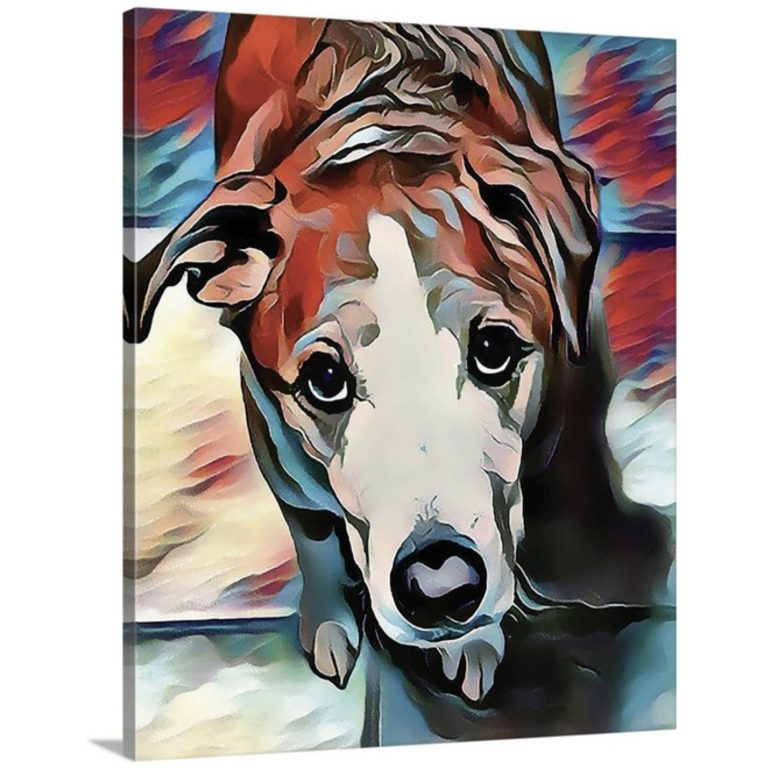 Canvas print of Stylized Image of a dog in blues and reds looking up at the viewer.