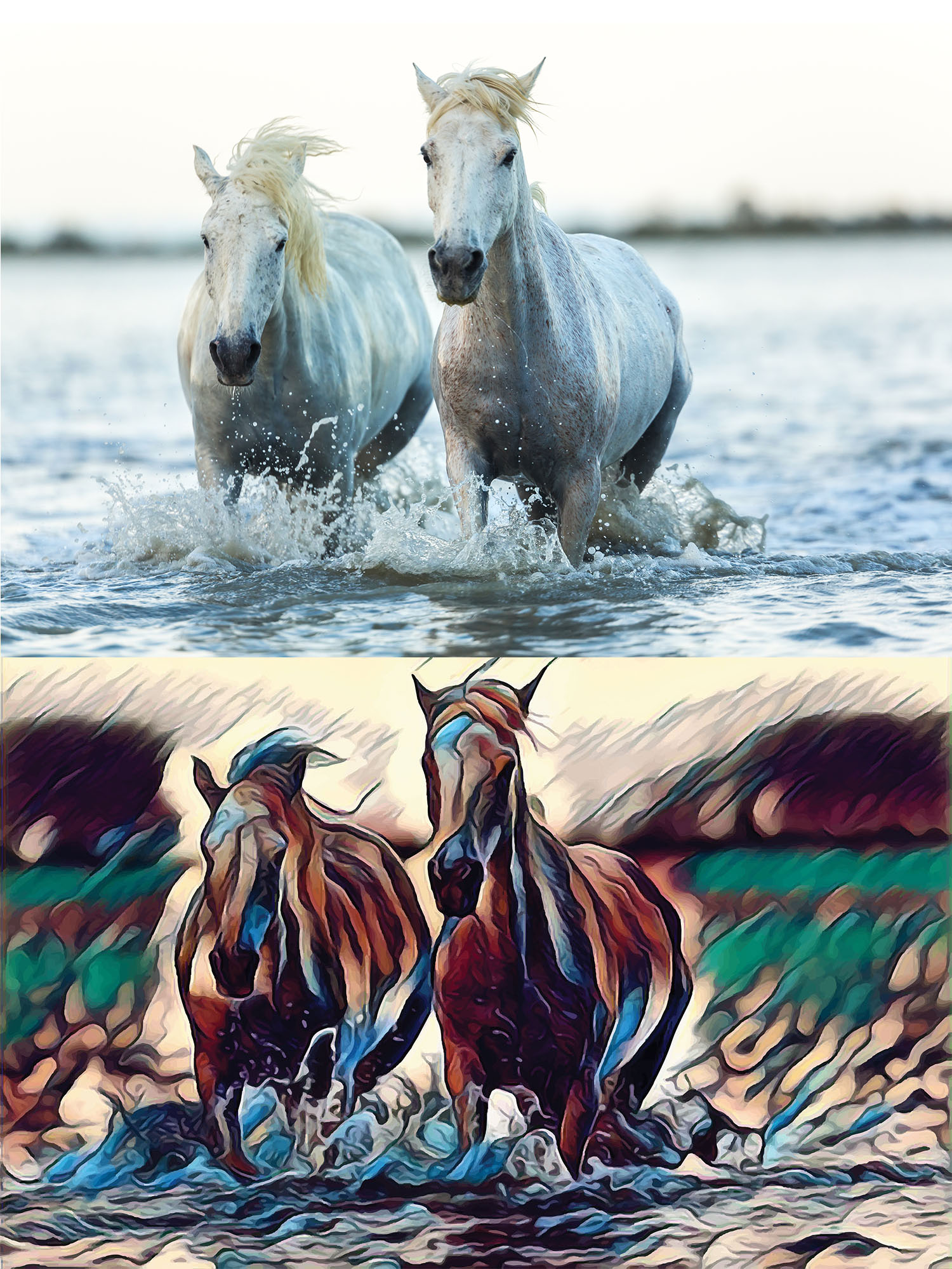 Before and after stylized image of two horses running through water