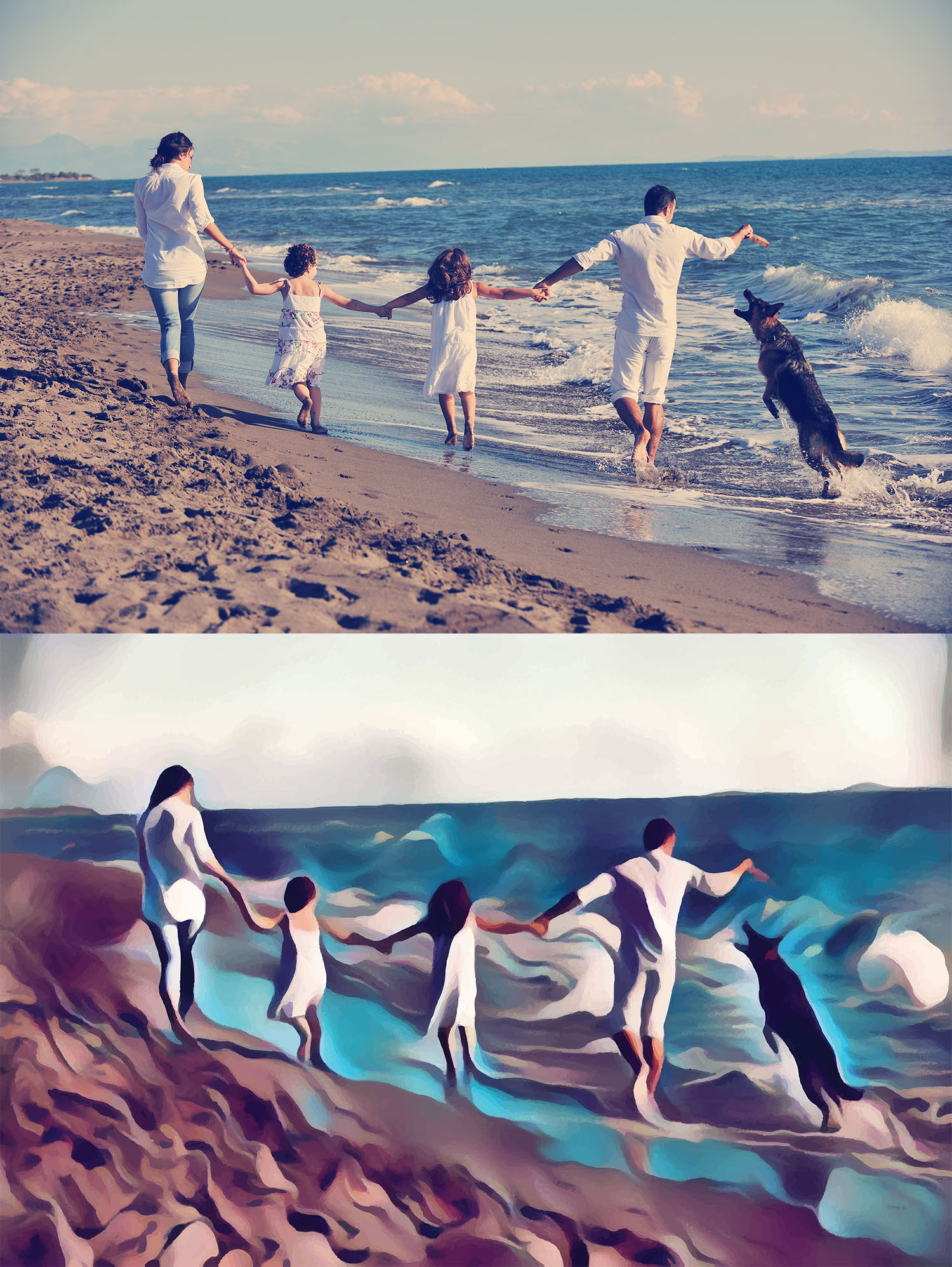 Before and after stylized image of a family playing with their dog on the beach