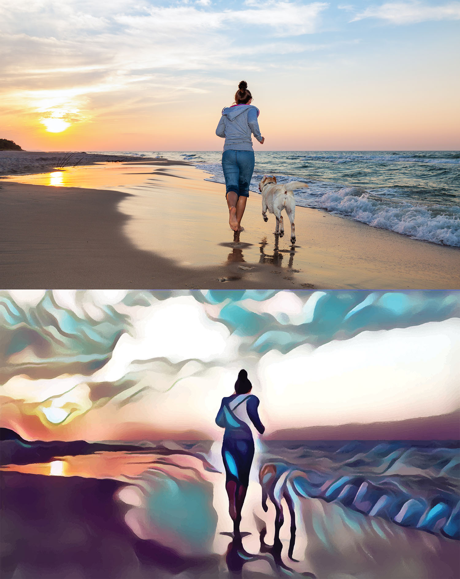 Before and after stylized image of a woman running with her dog on the beach