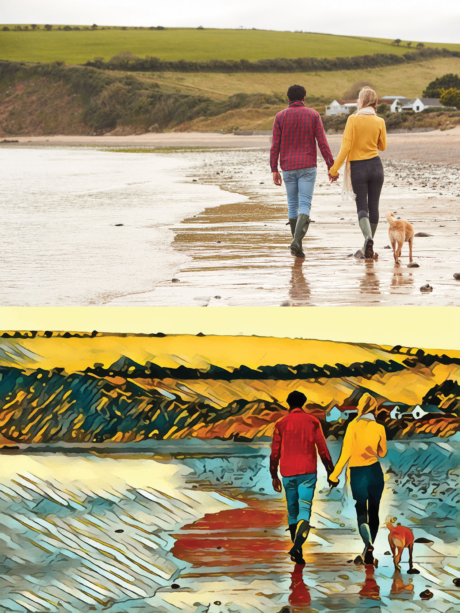 Before and after stylized image of a couple walking a dog on a beach