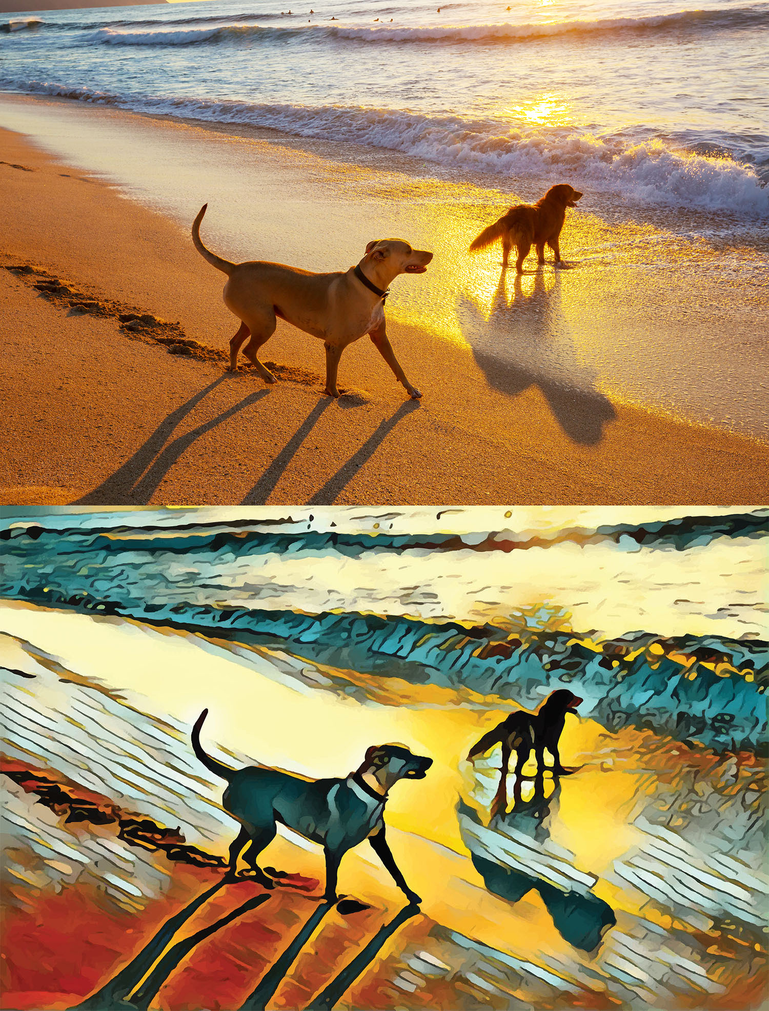 Before and after stylized image of two dogs playing in the surf at sunset