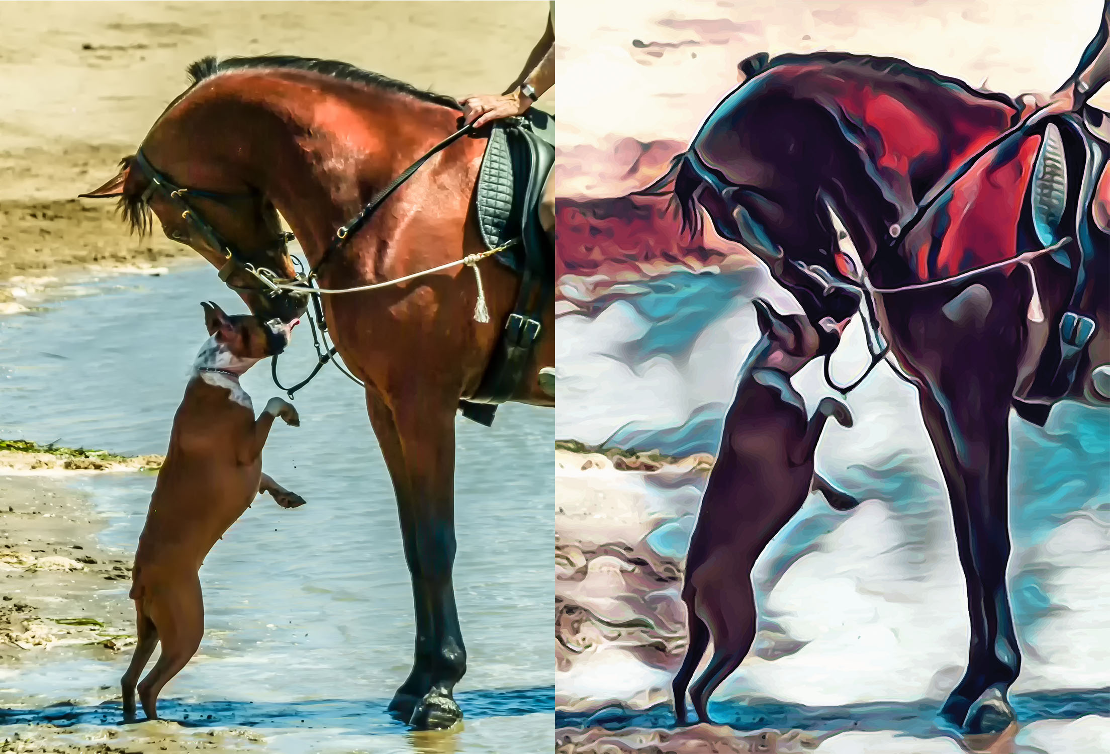 Before and after stylized image of a dog nuzzling a horse