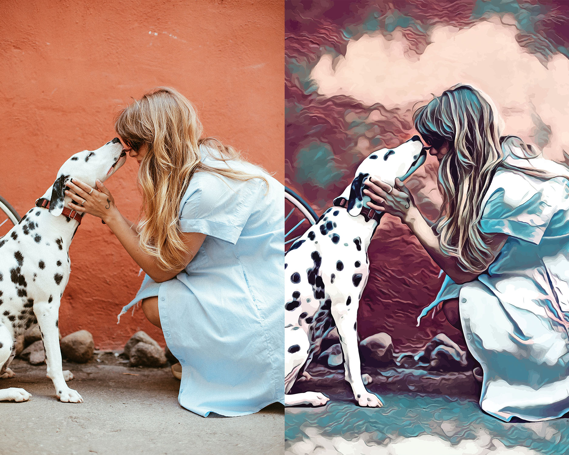 Before and after stylized Image of a Dalmatian licking a woman's face.