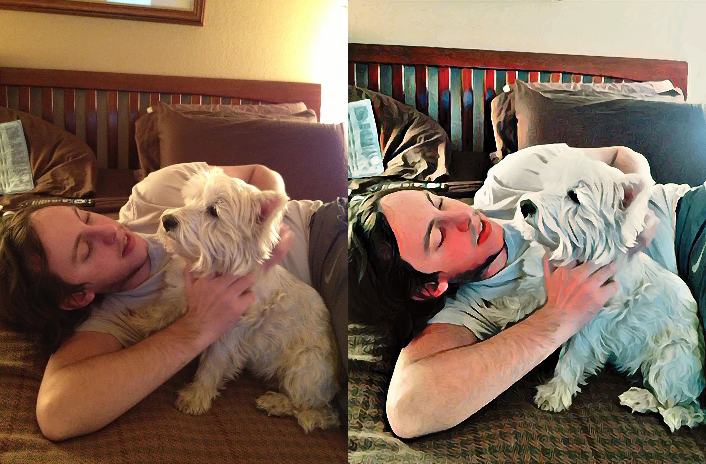 Before and after stylized image of a man lying on top of a bed petting a dog