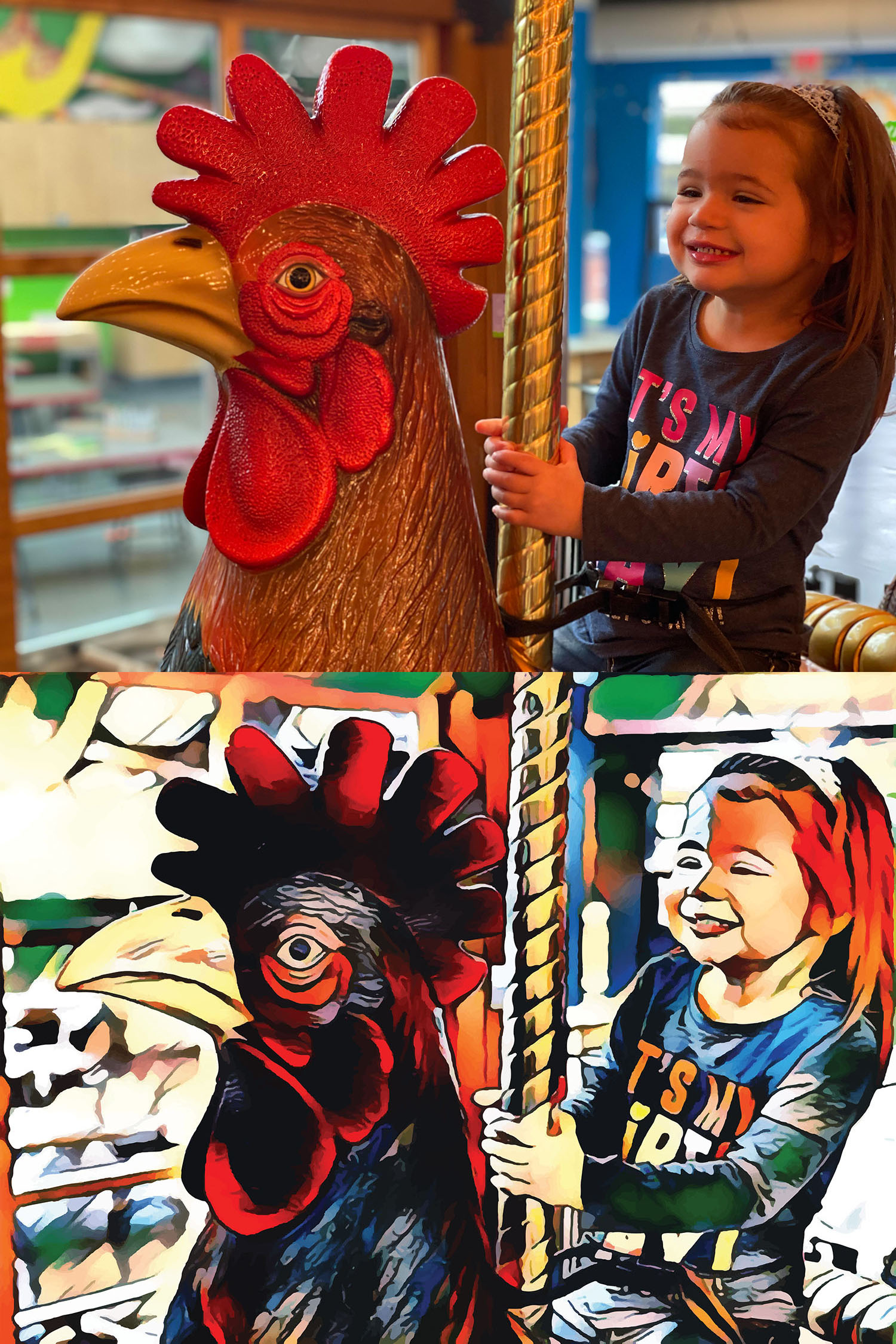 Before and after stylized image of a girl riding a carousel rooster