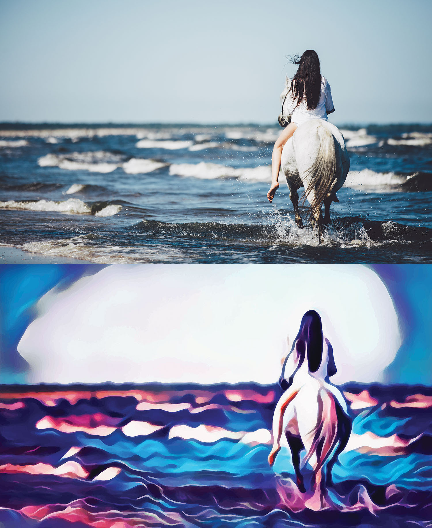 Before and after stylized Image of a woman riding a horse into the surf on a beach