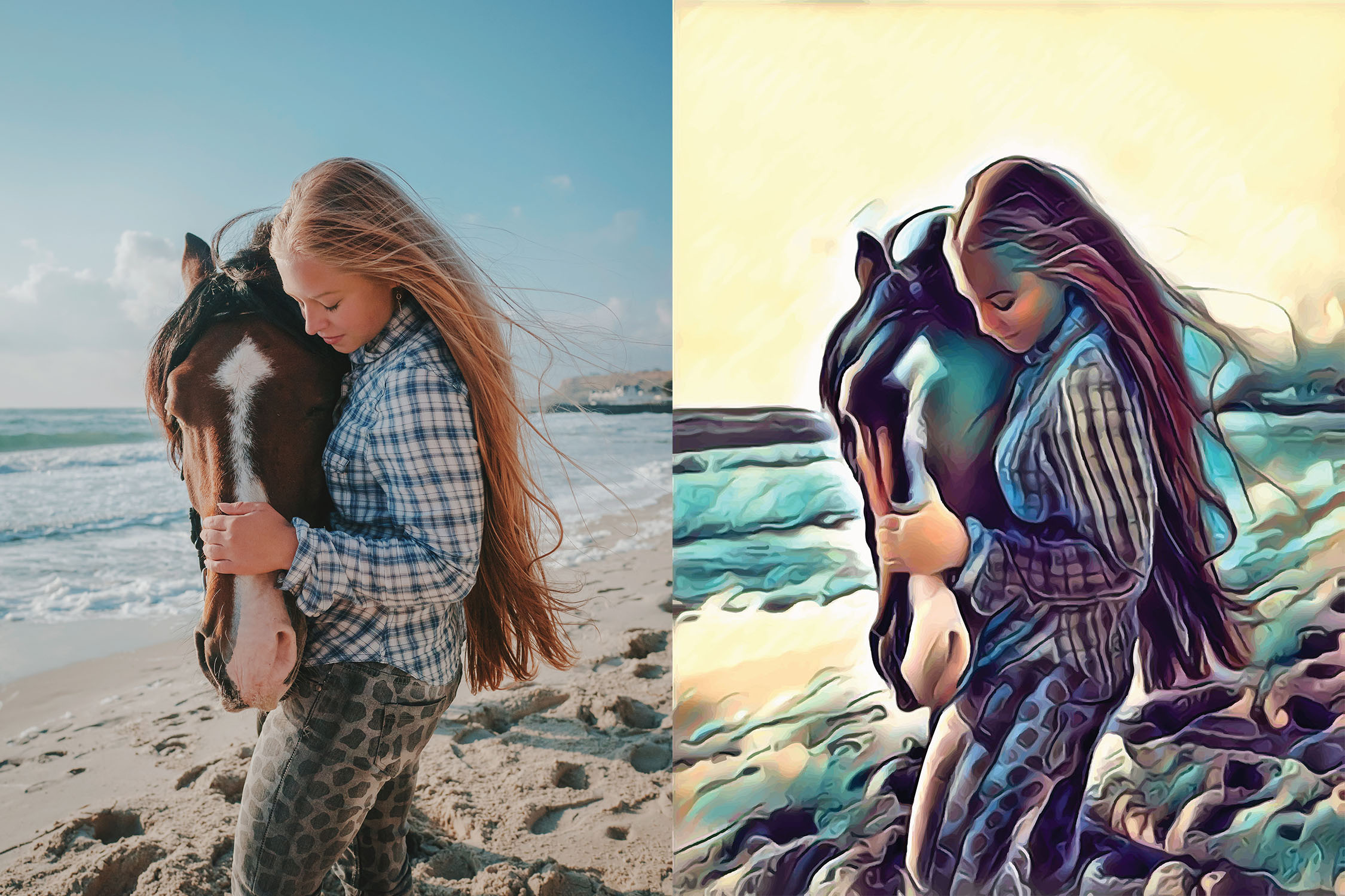 Before and after stylized Image of a woman on a beach hugging a horse's face