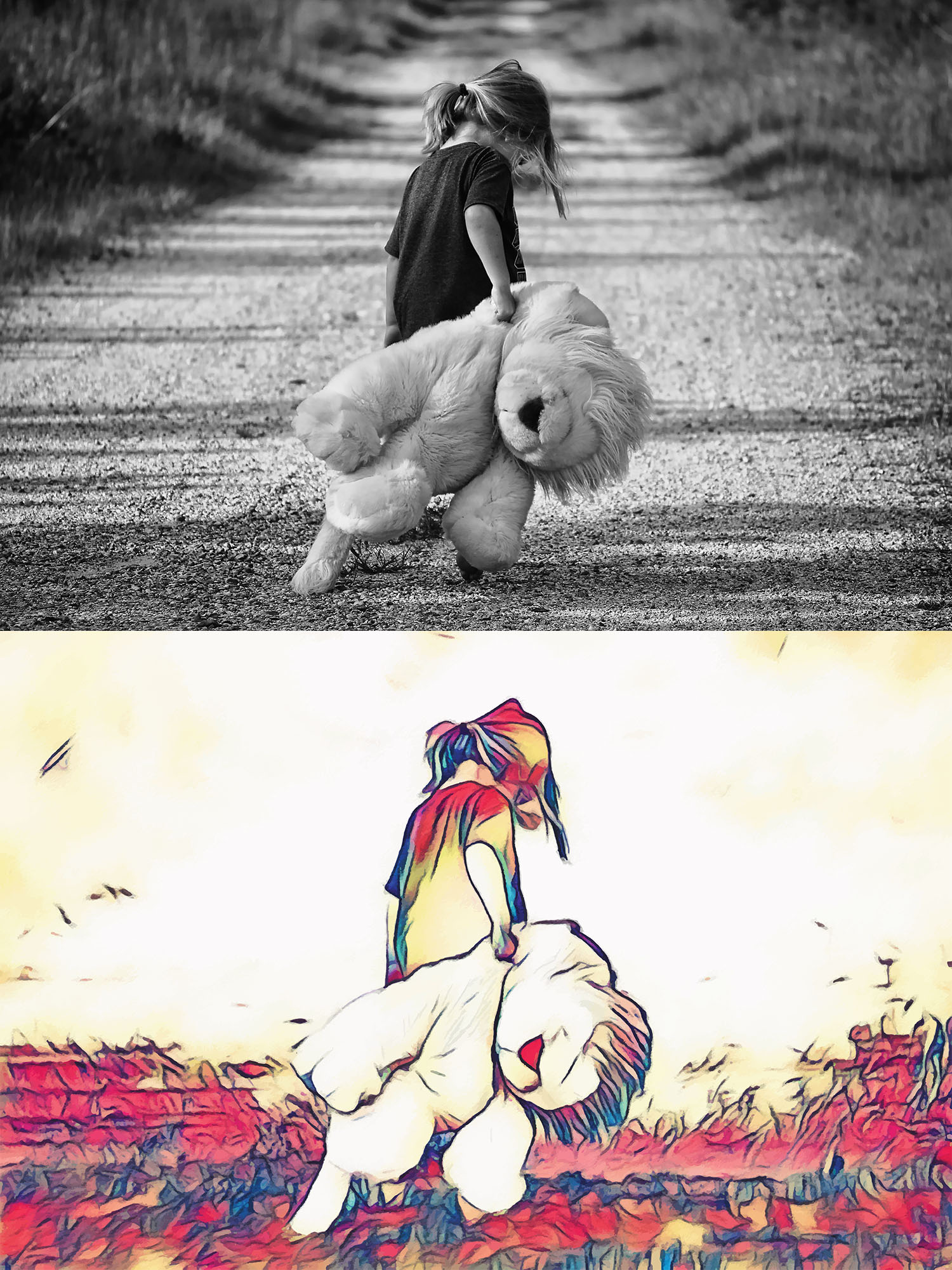 Before and after stylized image of a girl walking away from the camera down a dirt road dragging an enormous lion stuffed animal