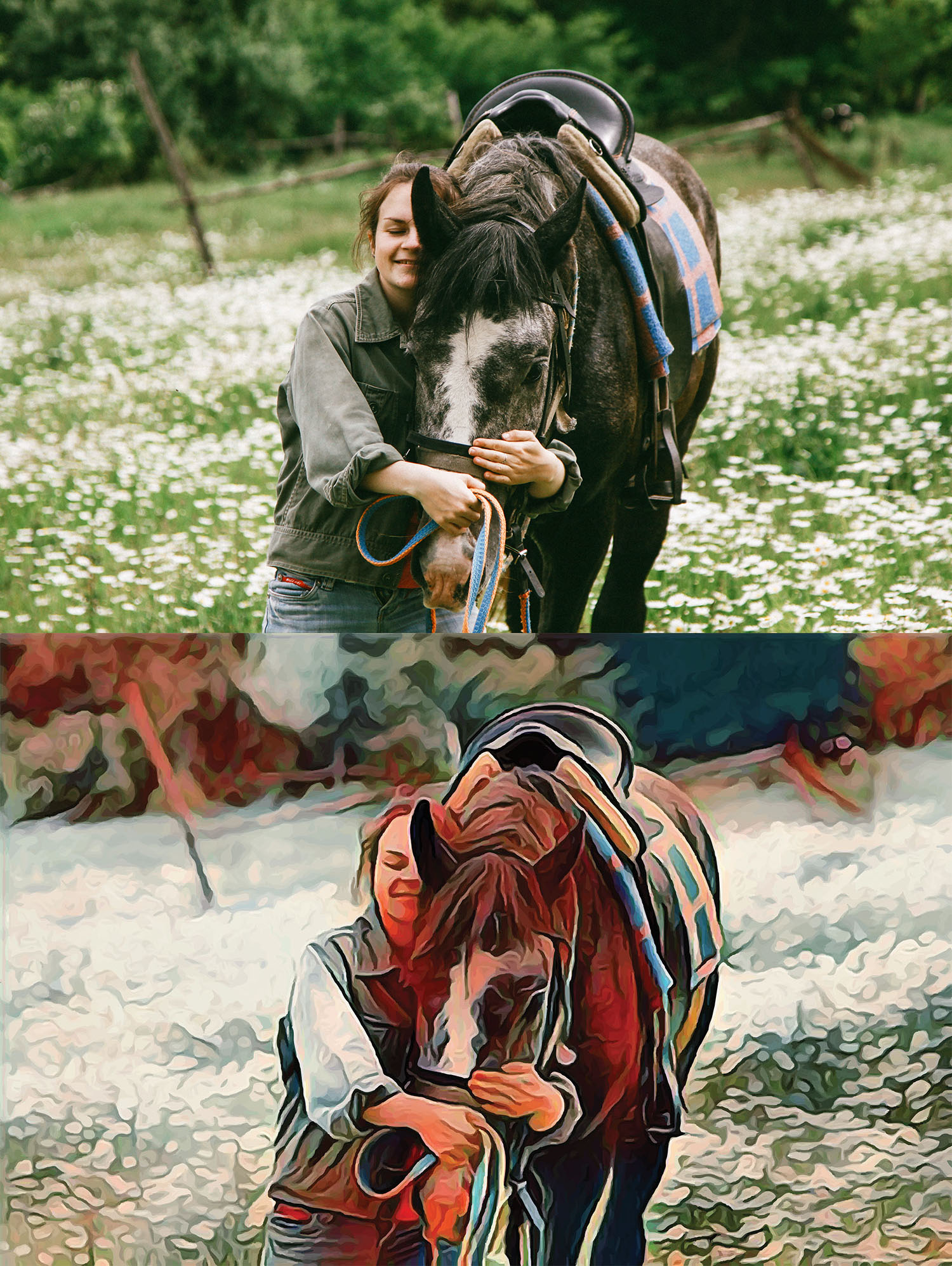 Before and after stylized Image of a woman walking with a horse, hugging its face