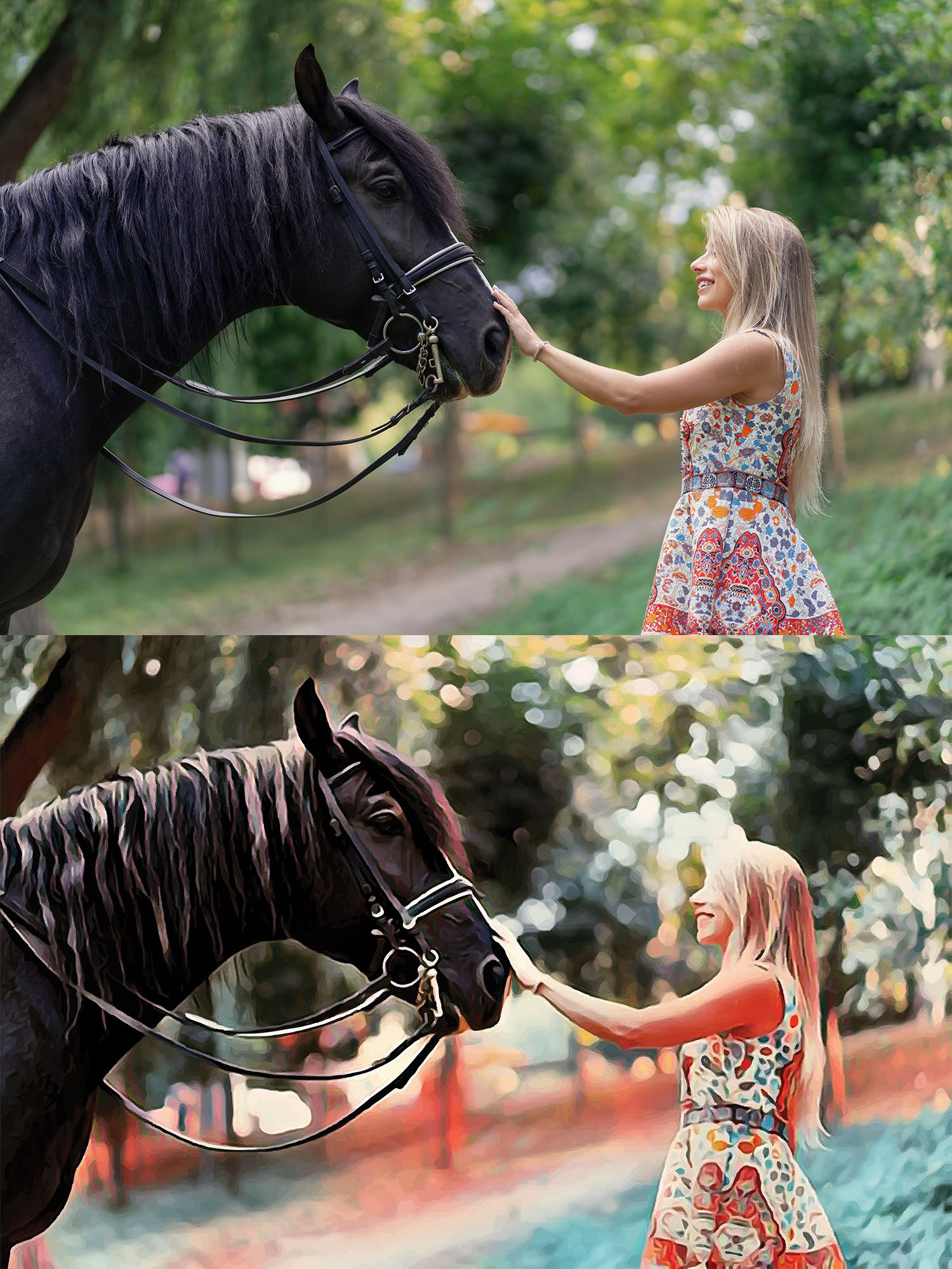 Before and after images of a woman patting a horse's nose