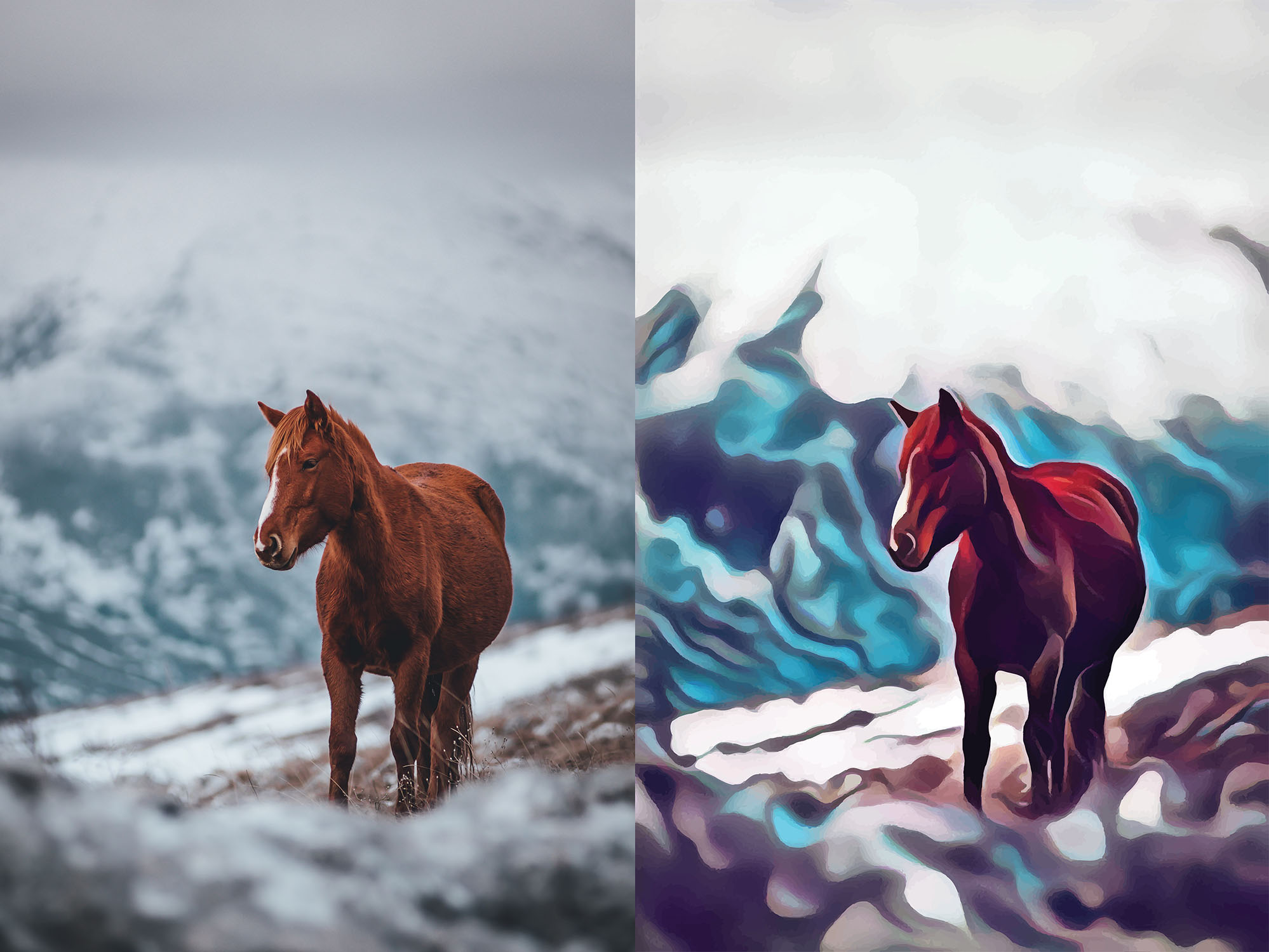 Before and after stylized image of a lone horse walking on a snowy mountain