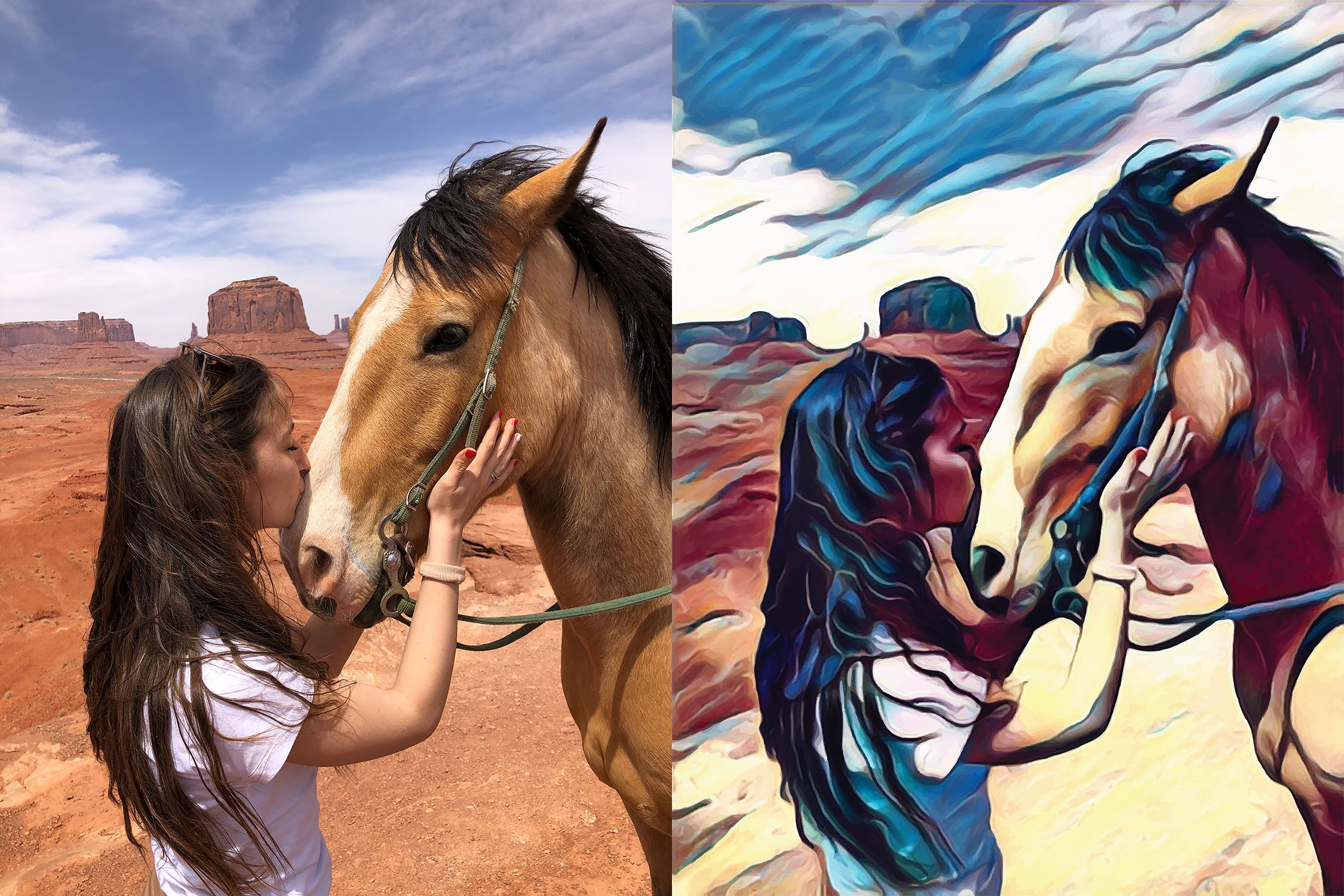 Before and after stylized Image of a woman kissing a horses nose.