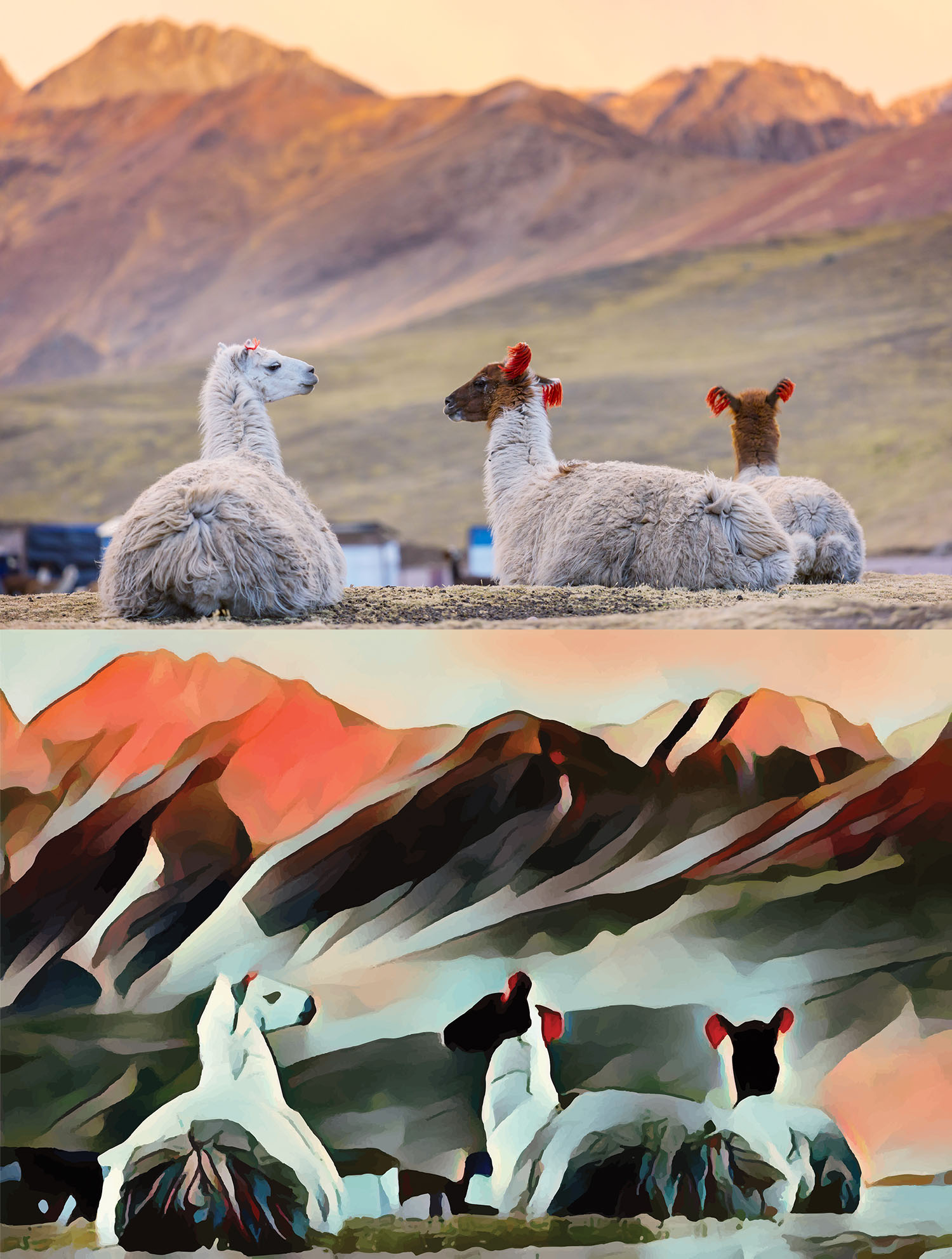 Before and after stylized image of three llamas lying in front of a mountain