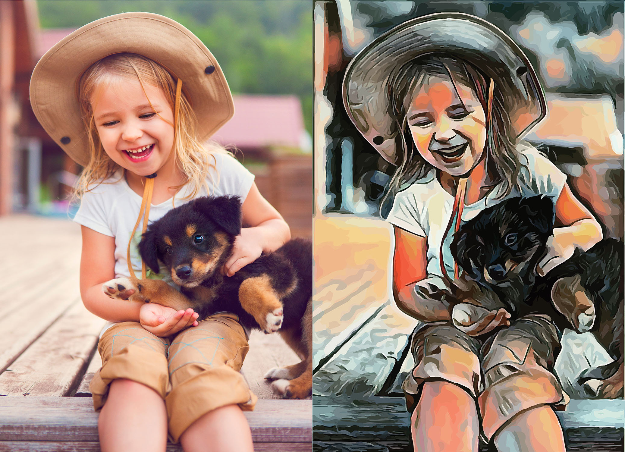 Before and after stylized image of a girl in a hat holding a black and gold puppy
