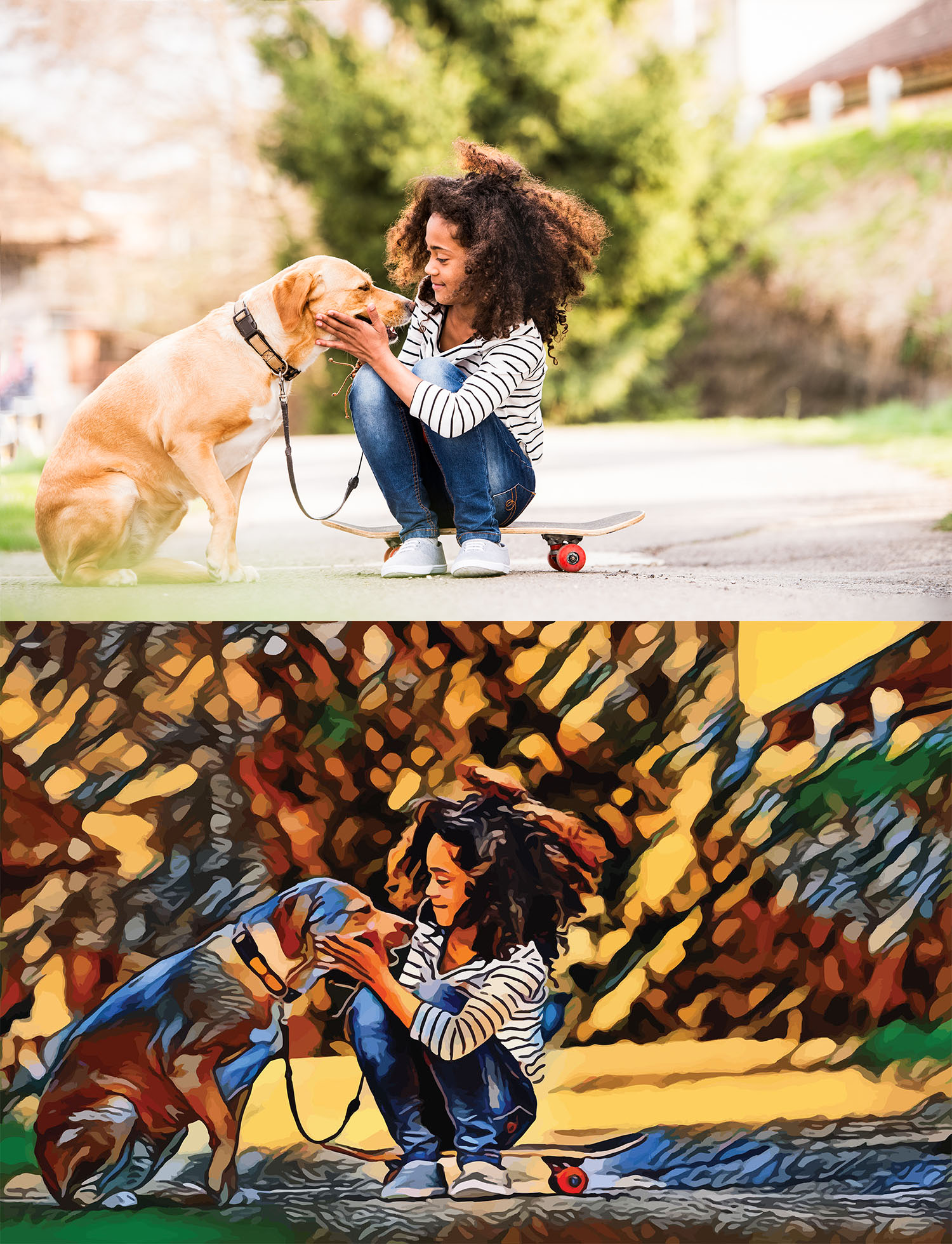 Before and after stylized Image of a girl sitting on a skateboard petting a dog