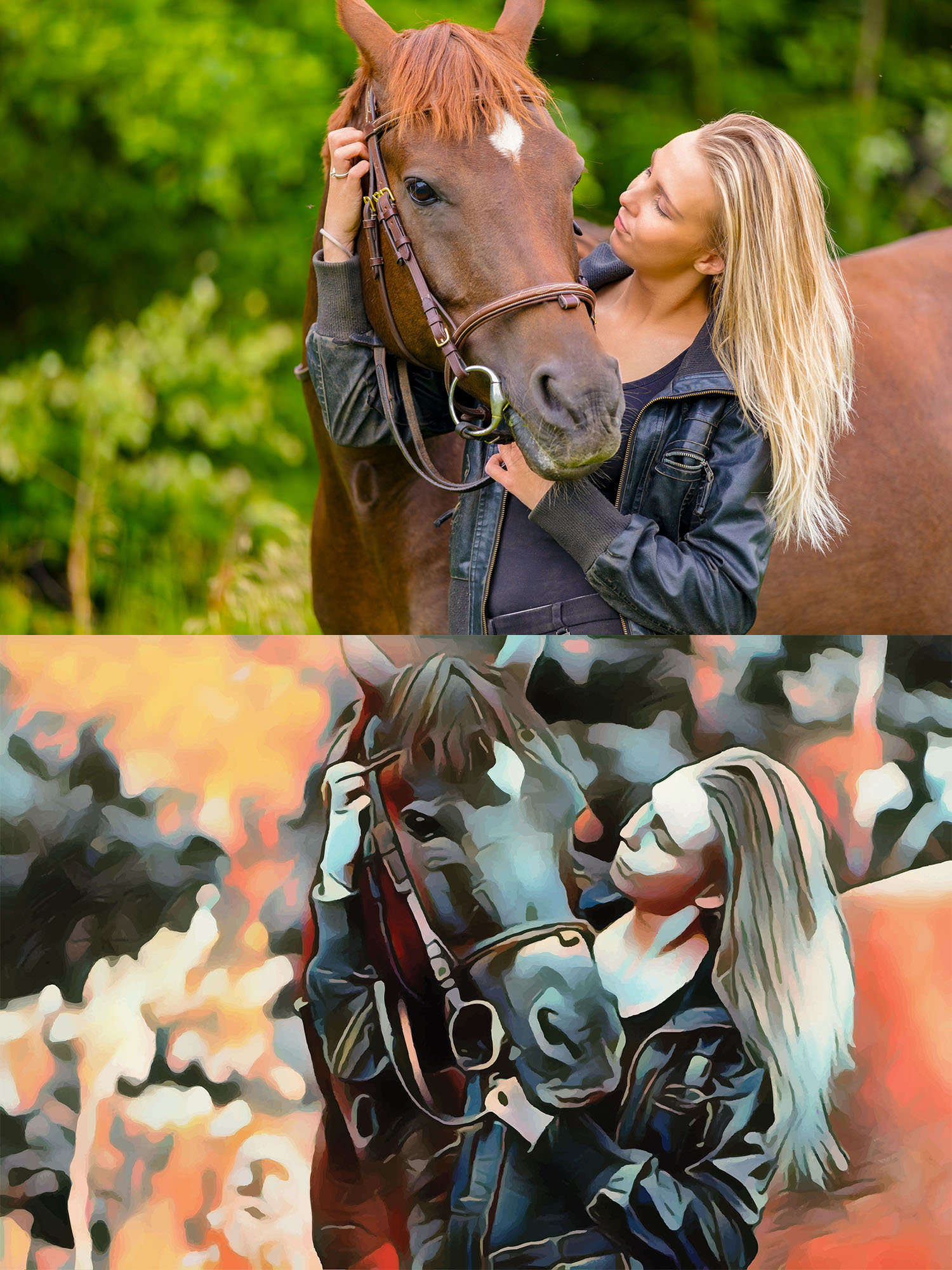 Before and after stylized Image of a woman walking with a horse.