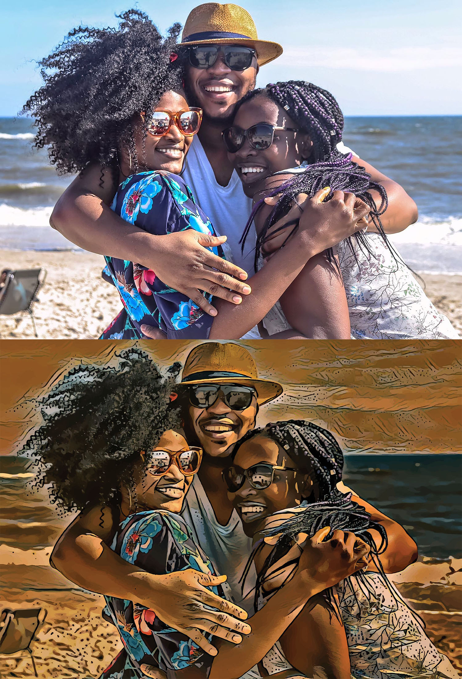 Before and after images of three smiling people in a group hug