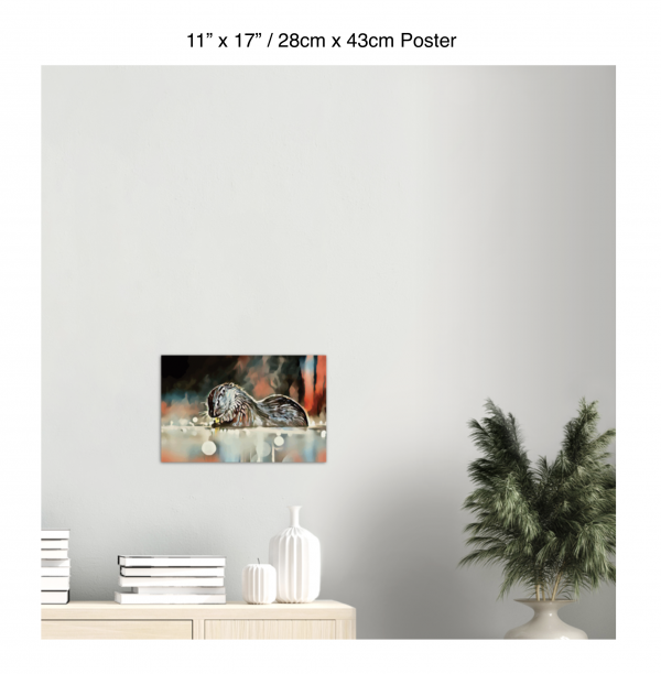 17 inch by 11 inch poster of an otter hanging over a bookshelf next to a plant