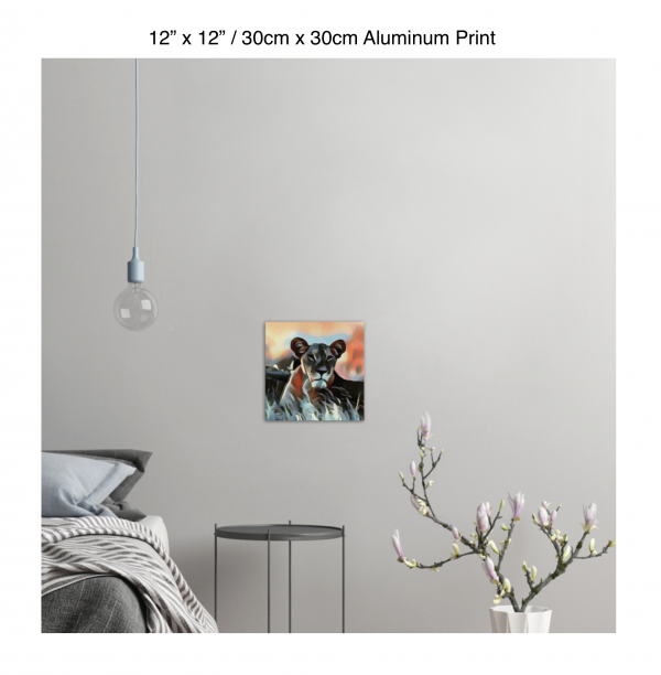 12 inch by 12 inch aluminum print of a lioness hanging in a bedroom over a night table next to a small table with a plant