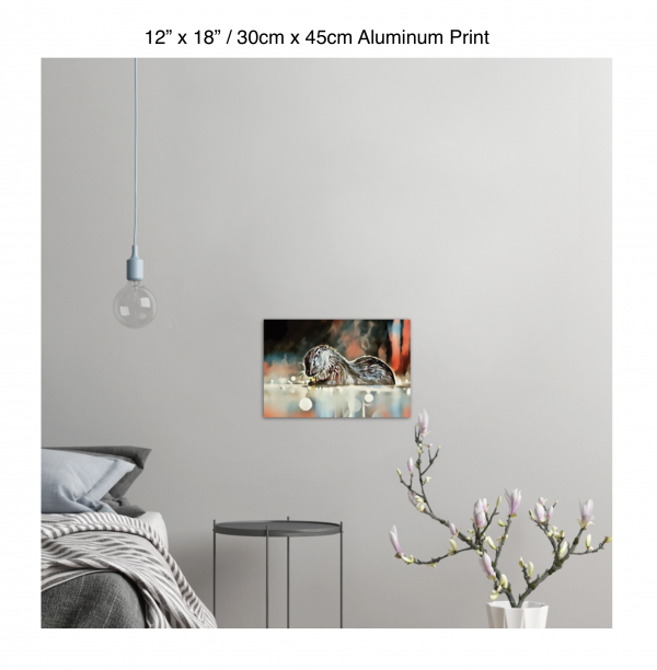18 inch by 12 inch aluminum print of an otter hanging in a bedroom over a night table next to a small table with a plant