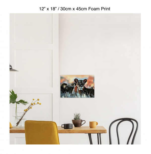 18 inch by 12 inch foam print of a lioness hanging over a dining table
