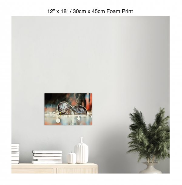 18 inch by 12 inch foam print of an otter hanging over a bookshelf next to a plant