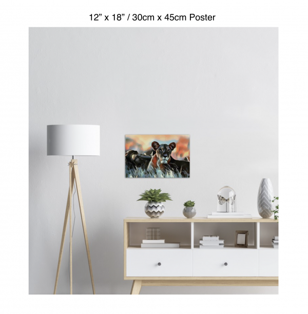 18 inch by 12 inch poster of a lioness hanging over a white credenza next to a white floor lamp