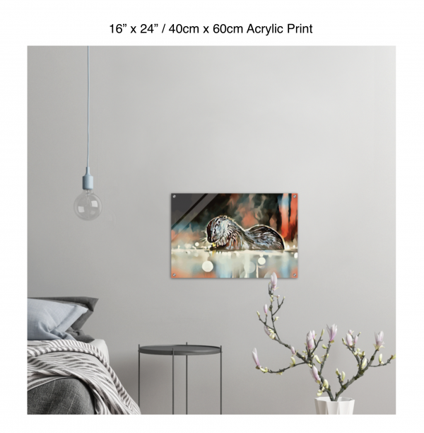 24 inch by 16 inch acrylic print of an otter hanging in a bedroom over a night table next to a small table with a plant