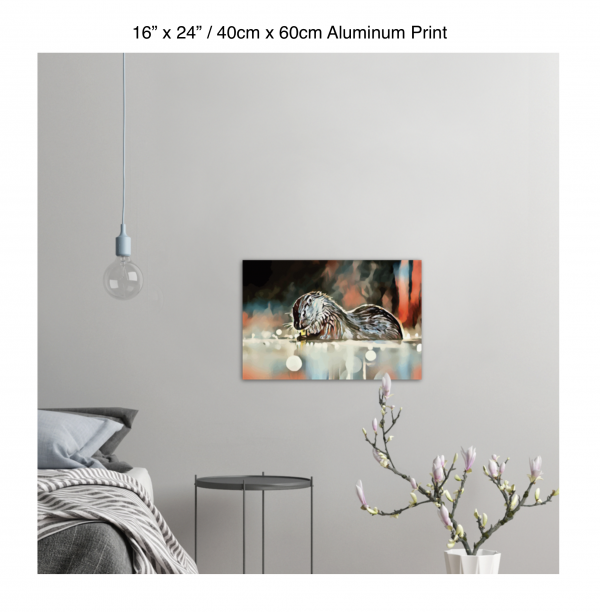 24 inch by 16 inch aluminum print of an otter hanging in a bedroom over a night table next to a small table with a plant