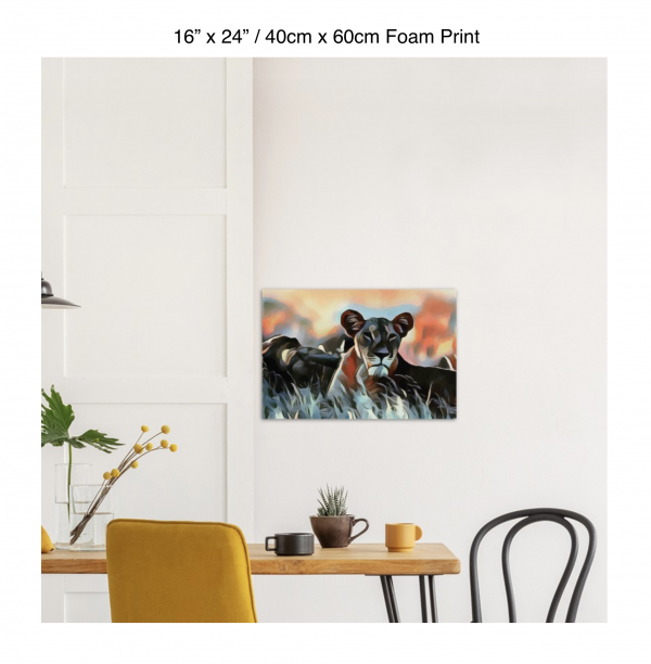 24 inch by 16 inch foam print of a lioness hanging over a dining table