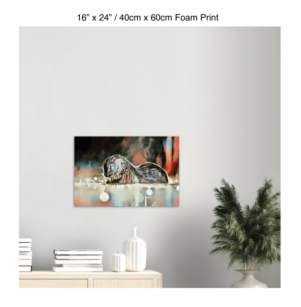 24 inch by 16 inch foam print of an otter hanging over a bookshelf next to a plant