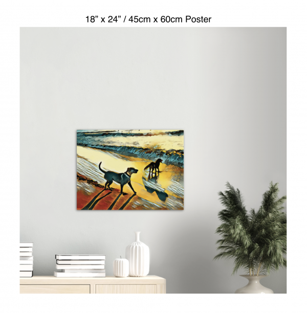 24 inch by 18 inch poster print of two dogs wading in the surf in golden tones of a sunset hanging over a bookshelf next to a plant