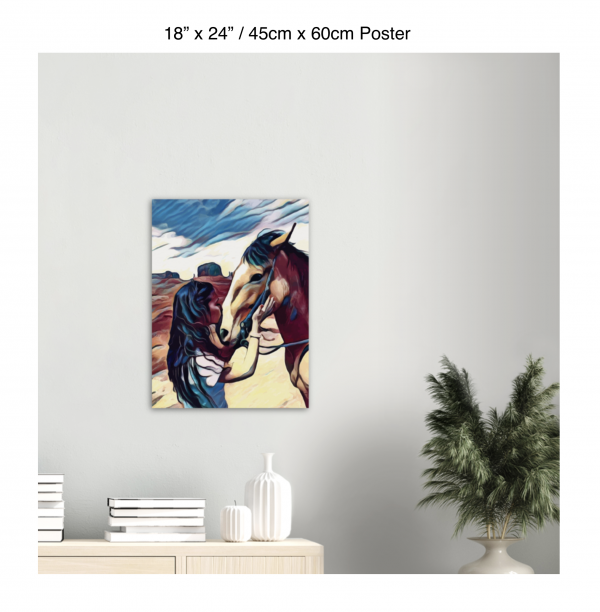 18 inch by 24 inch poster of a woman kissing a horse on the nose in front of a desert background hung above a table