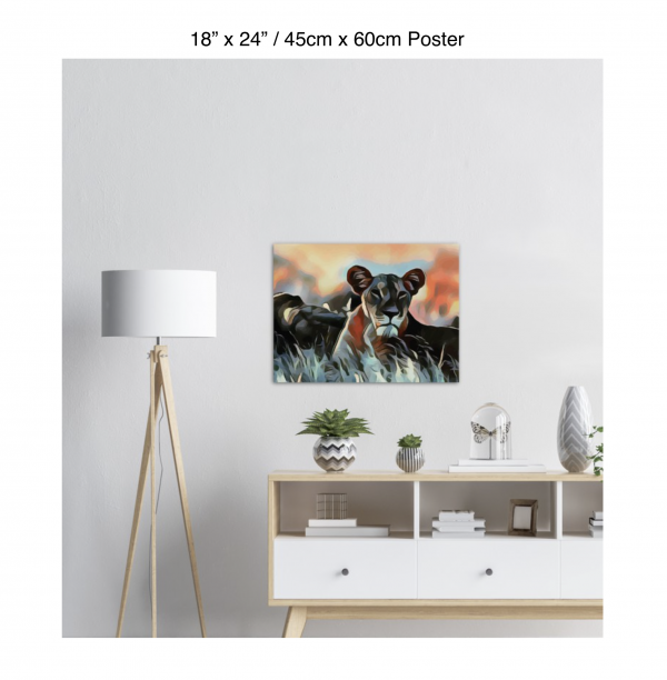 24 inch by 18 inch poster of a lioness hanging over a white credenza next to a white floor lamp
