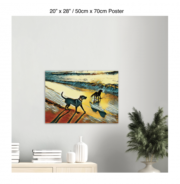 28 inch by 20 inch poster print of two dogs wading in the surf in golden tones of a sunset hanging over a bookshelf next to a plant