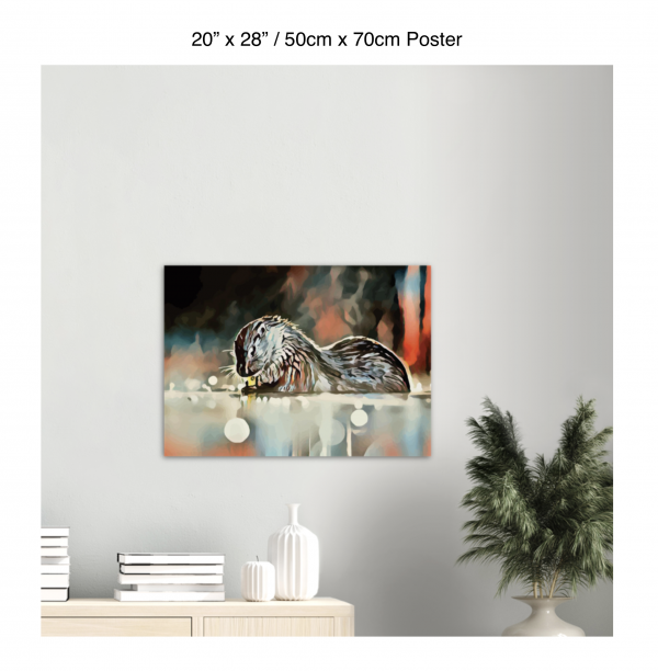 28 inch by 20 inch poster of an otter hanging over a bookshelf next to a plant