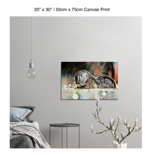 30 inch by 20 inch canvas print of an otter hanging in a bedroom over a night table next to a small table with a plant
