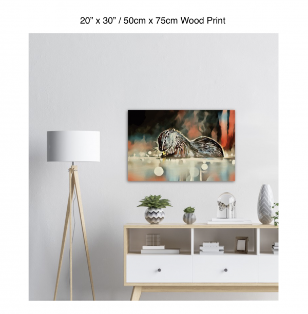 30 inch by 20 inch wood print of an otter hanging over a white credenza next to a white floor lamp