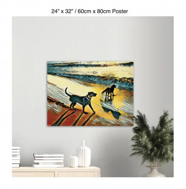 32 inch by 24 inch poster print of two dogs wading in the surf in golden tones of a sunset hanging over a bookshelf next to a plant
