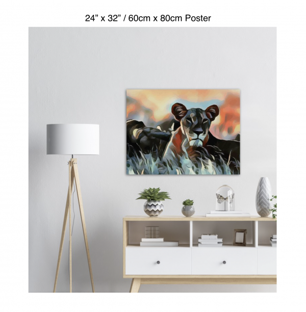 32 inch by 24 inch poster of a lioness hanging over a white credenza next to a white floor lamp