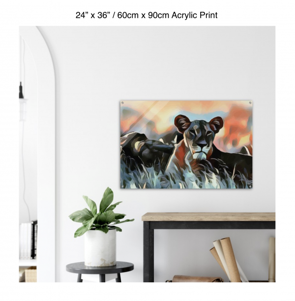 36 inch by 24 inch acrylic print of a lioness hanging over a shelf next to a small table with a plant