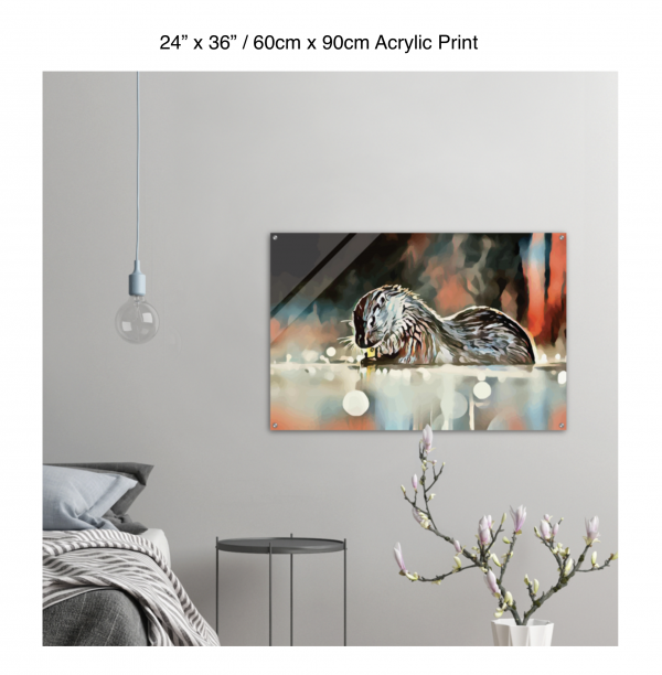36 inch by 24 inch acrylic print of an otter hanging in a bedroom over a night table next to a small table with a plant