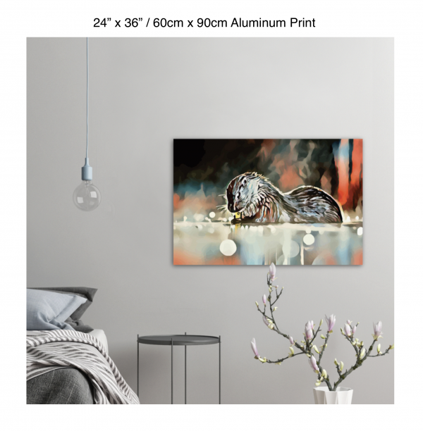 36 inch by 24 inch aluminum print of an otter hanging in a bedroom over a night table next to a small table with a plant