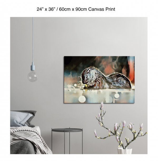 36 inch by 24 inch canvas print of an otter hanging in a bedroom over a night table next to a small table with a plant