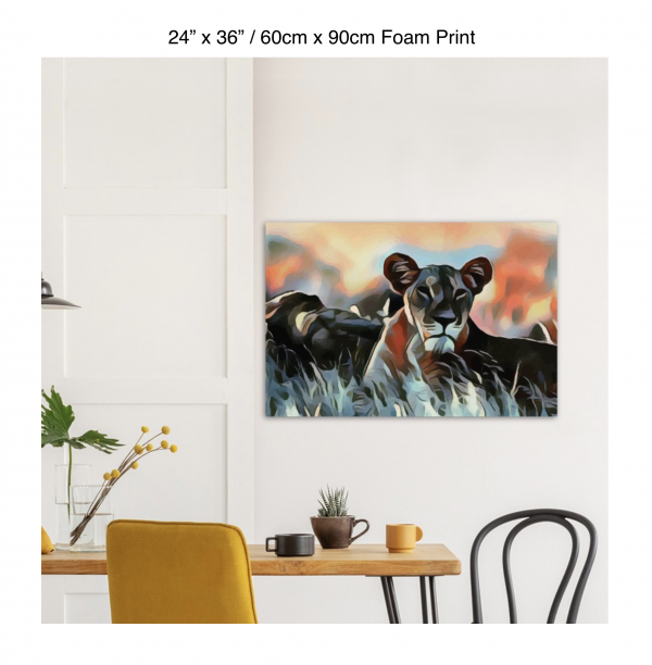 36 inch by 24 inch foam print of a lioness hanging over a dining table
