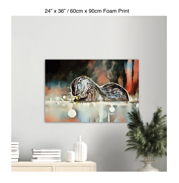 36 inch by 24 inch foam print of an otter hanging over a bookshelf next to a plant