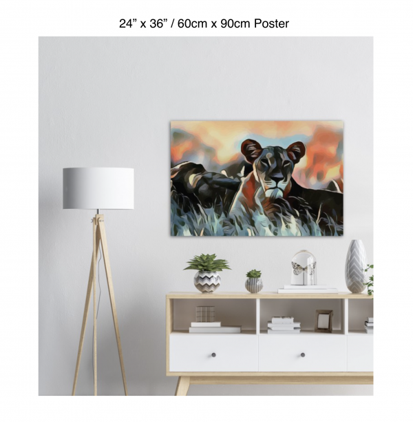 36 inch by 24 inch poster of a lioness hanging over a white credenza next to a white floor lamp